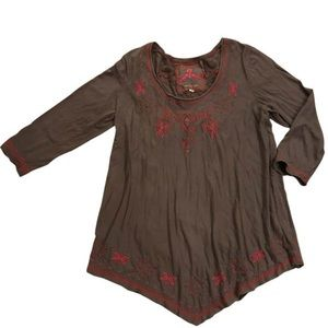 Johnny Was Embroidered Long Sleeve Top
